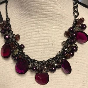 WHBM Purple Stone & Beads Necklace & Earrings Set
